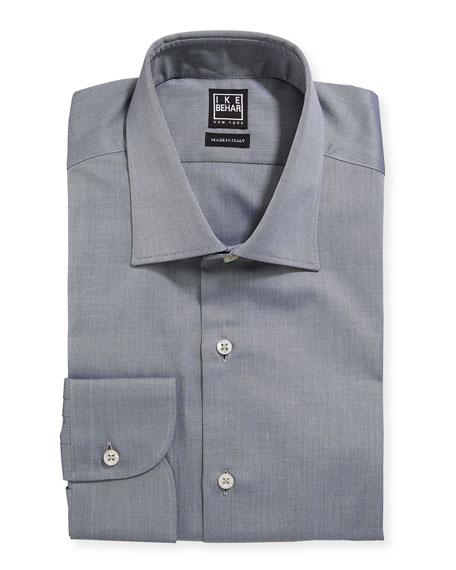 Ike Behar Men's Marcus Twill Barrel-Cuff Dress Shirt, Gray