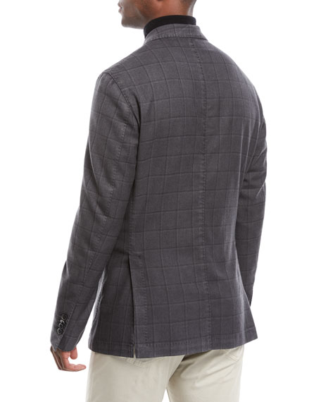 Neiman Marcus Men's Windowpane 2-Button Jacket