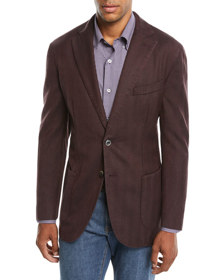 Neiman Marcus Men's Herringbone Two-Button Wool Jacket