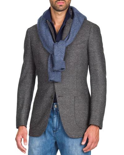 Men's Grayblack Geometric Jacket