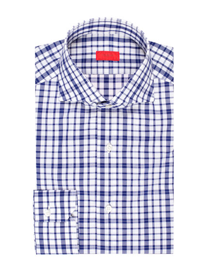 Isaia Men's Large-Check Cotton Dress Shirt