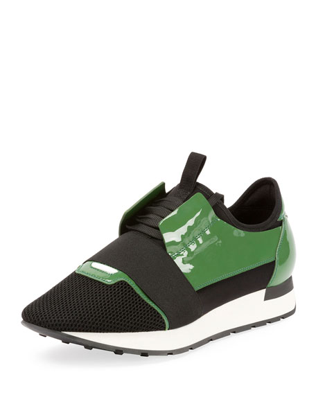 Men's Patent Race Runner Mesh & Leather Sneakers