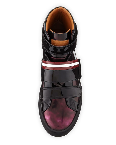 Men's Herrick Metallic Patent Leather High-Top Sneakers