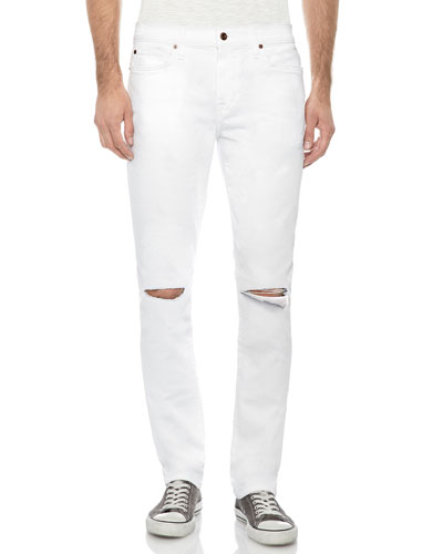 Men's The Slim-Fit Distressed Jeans, White