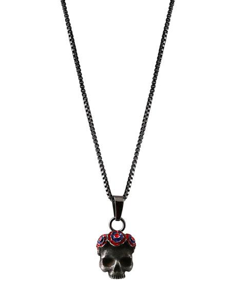 Tateossian Men's Skull Pendant Necklace, Dark Gray