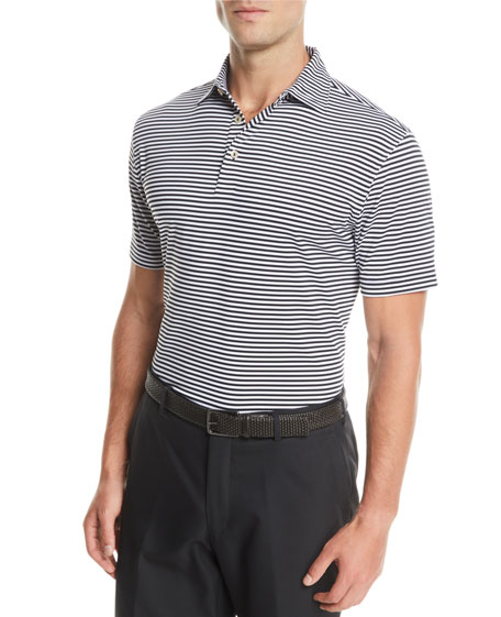 Peter Millar Men's Competition Striped Jersey Polo Shirt