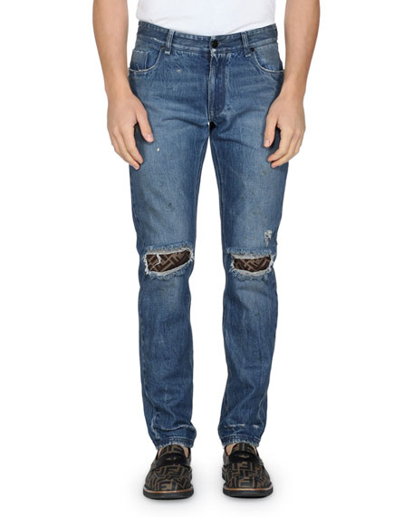 Fendi Men's Rip-Knee Straight-Leg Jeans