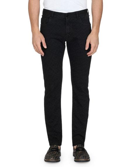 Fendi Men's Allover FF Print Straight-Leg Jeans