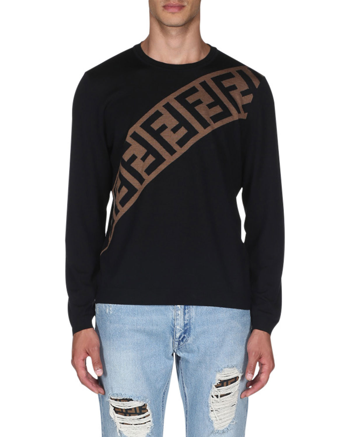 f5fb8b6dc6 Fendi Men s Diagonal-Logo Wool Pullover Sweater