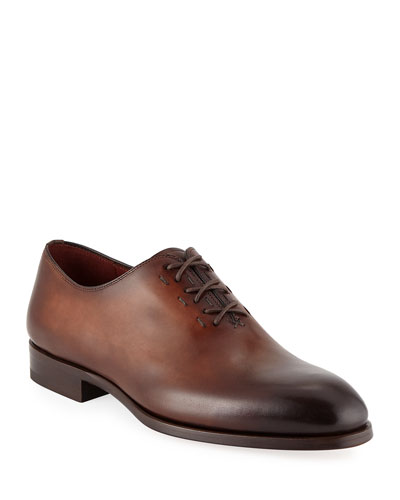 Men's Lace-Up One-Piece Leather Dress Shoes