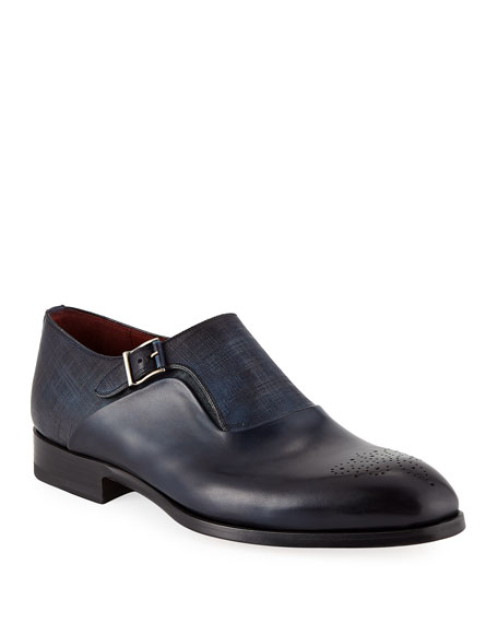 Neiman Marcus Leathers TEXTURED MONK STRAP SHOES