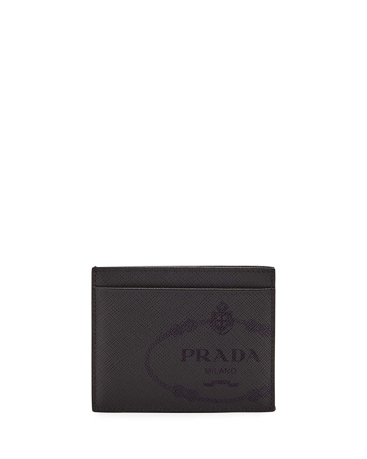 d832e2e59ae379 Prada Men's Saffiano Leather Card Case with Savoia Logo | Neiman Marcus