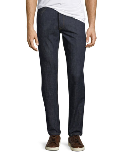 Men's Dark-Wash Stretch-Denim Jeans, Navy