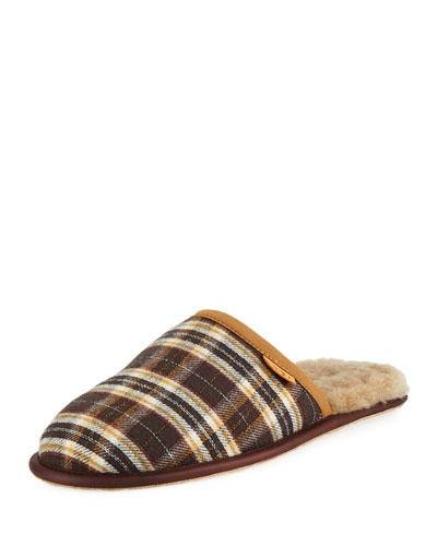 Men's Scuff Plaid Leather Slippers