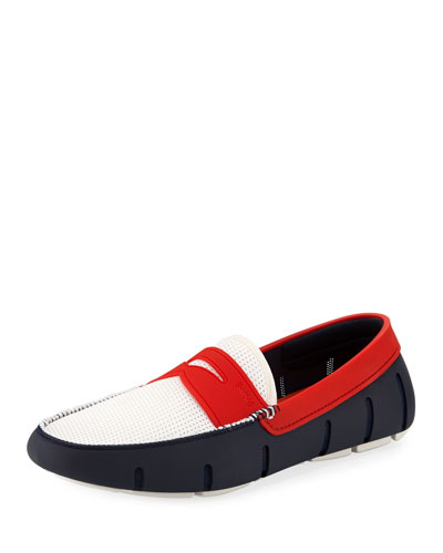 Men's Rubber Penny Loafer Water Shoes  White