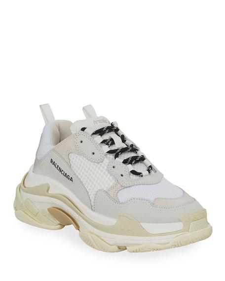 Triple S Mesh \u0026 Leather Sneakers, White