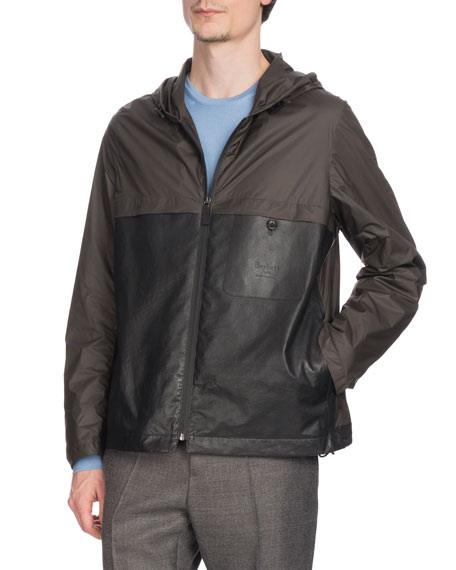 BERLUTI Men'S Nylon & Leather Zip-Front Bomber Jacket in Gray