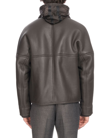 Berluti Men's Leather Bomber Jacket with Lamb Fur Lining