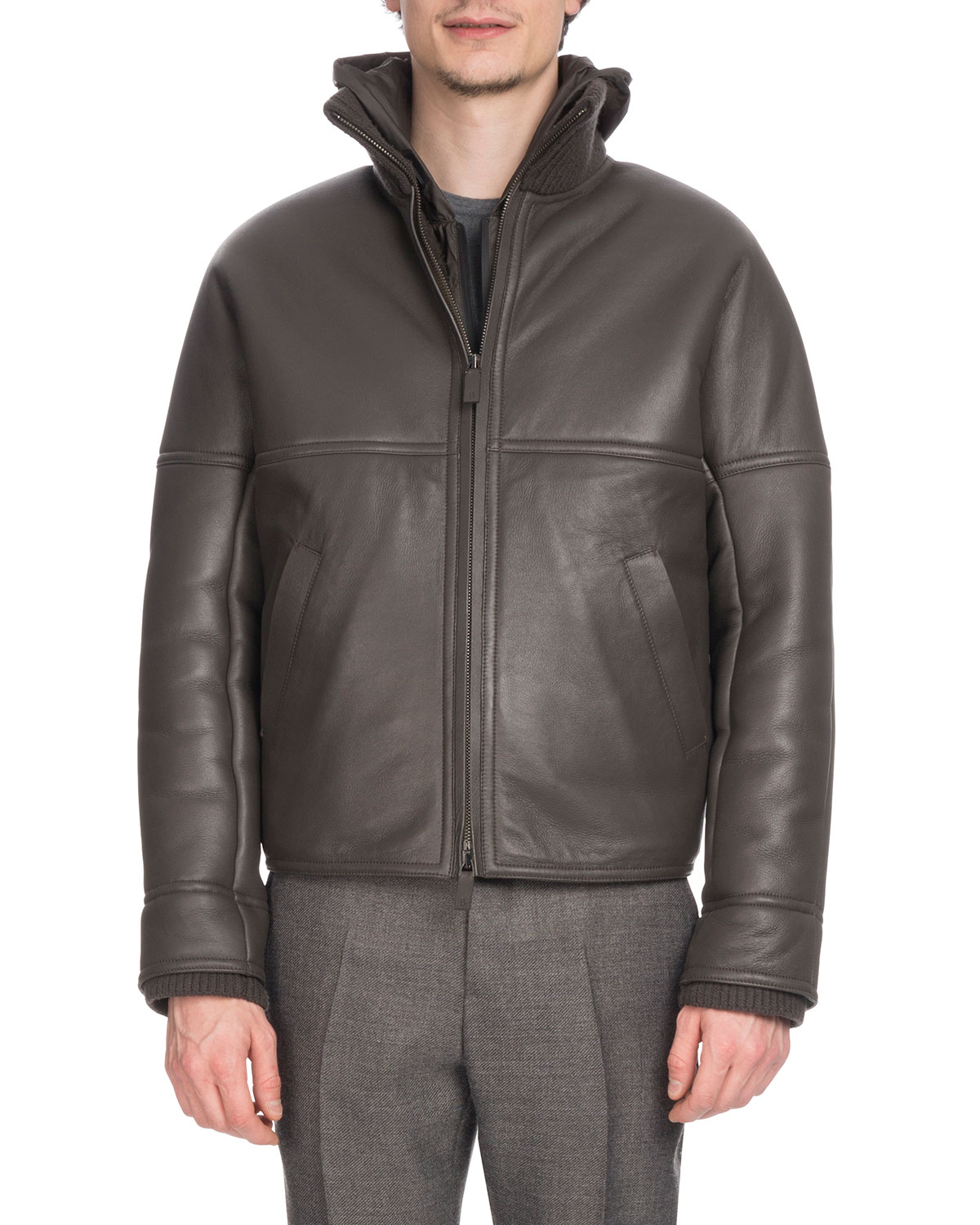 Mens Leather Bomber Jacket With Lamb Fur Lining