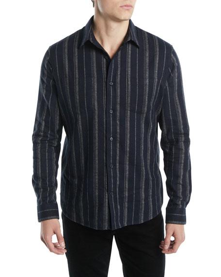Vince Men's Striped Flannel Button-Down Shirt