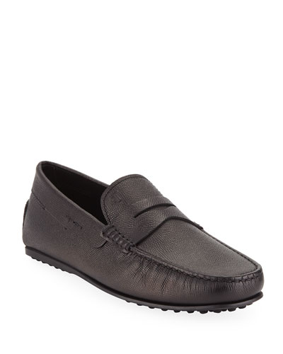 Men's Textured Leather Penny Driver