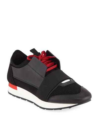 Men's Race Runner Mesh & Leather Sneakers