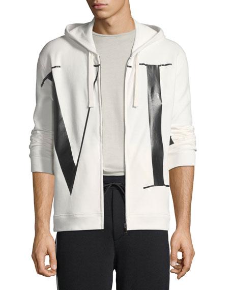 Valentino Men's VLTN Logo-Print Zip-Front Hoodie