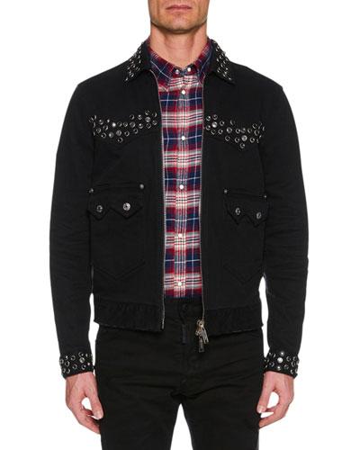 Men's Studded Zip-Front Jean Jacket