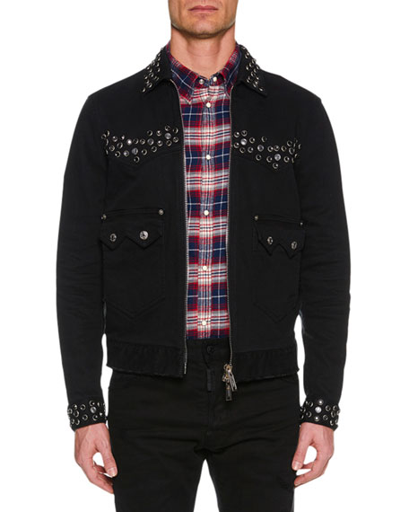 Dsquared2 Men's Studded Zip-Front Jean Jacket