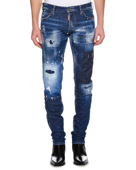 Men's Super Patched Bleached Slim-Fit Jeans