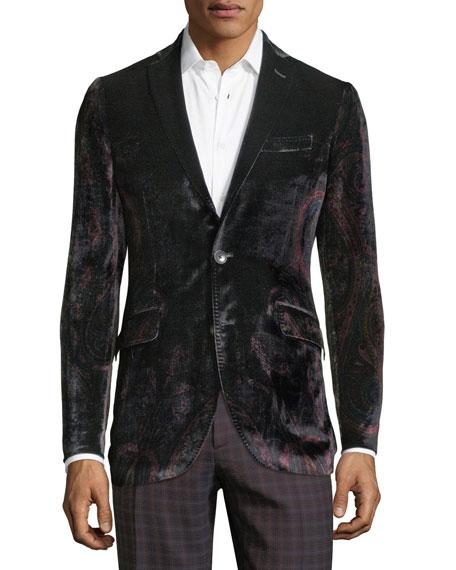 Etro Men's Velvet Paisley One-Button Jacket