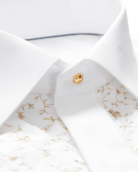 Eton Men's Contemporary Fit Floral-Detail Formal Dress Shirt