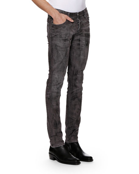 Just Cavalli Men's Distressed Gray-Wash Jeans