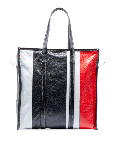 Men's Bazar Medium Striped Leather Shopper Tote Bag