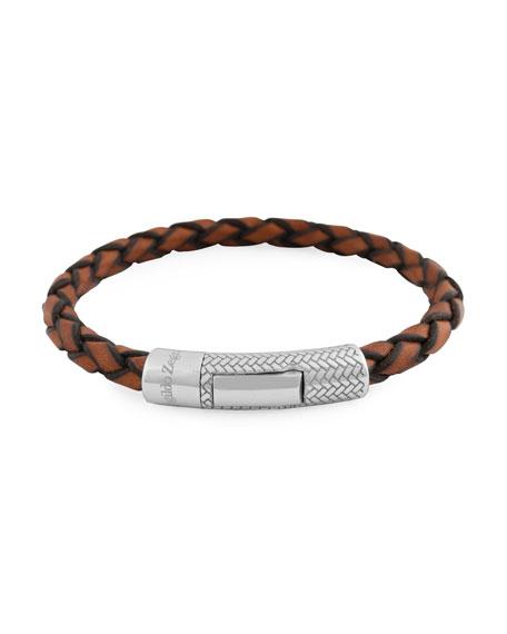 Ermenegildo Zegna Men's Ermenegildo Zegna Braided Leather Silver Bracelet, Light Brown