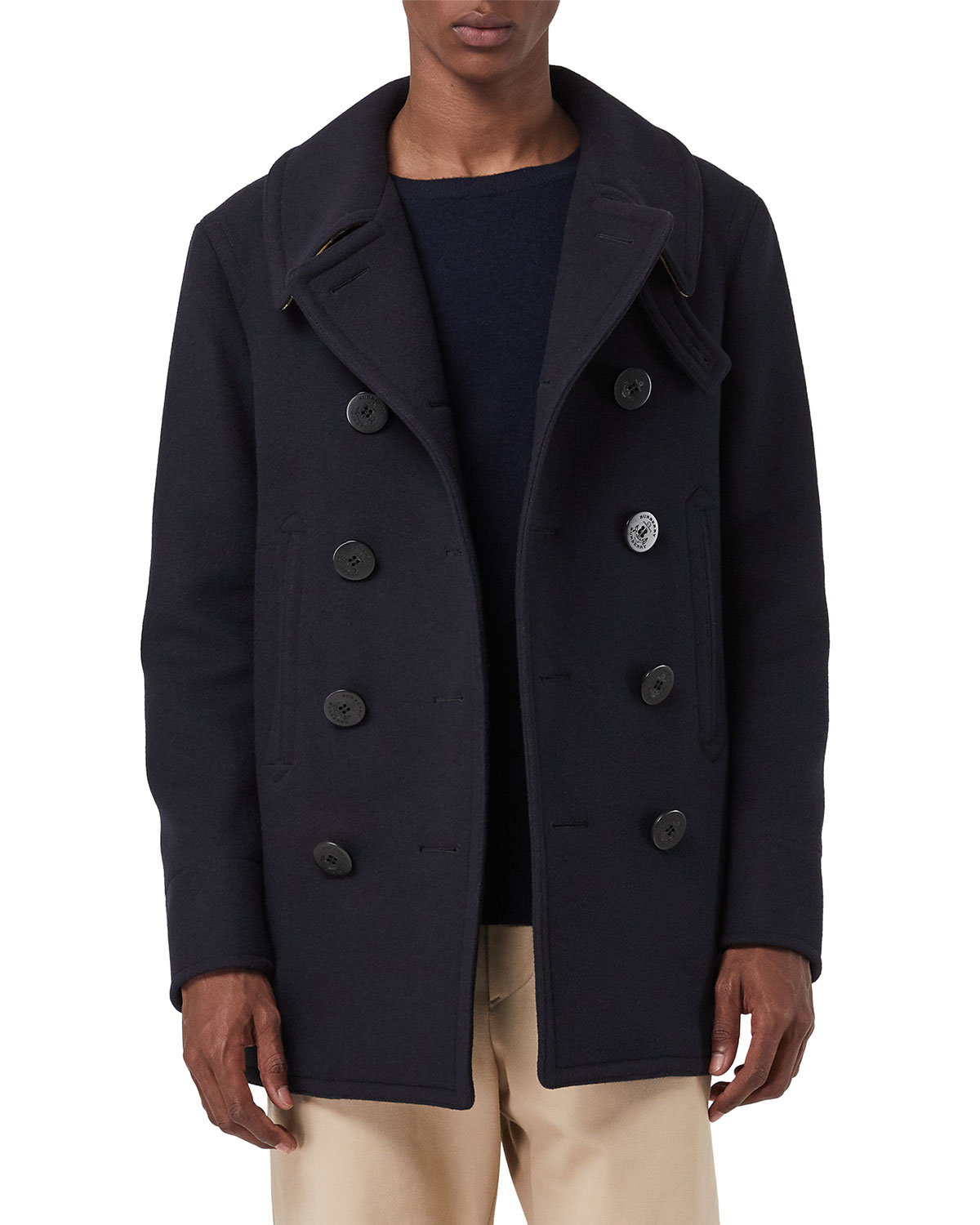 7ea96be7b Burberry Men's Claythorpe Contrast-Face Pea Coat | Neiman Marcus