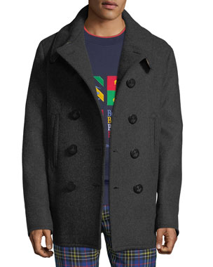 a532b36af809c Burberry Men's Claythorpe Double-Breasted Wool Coat
