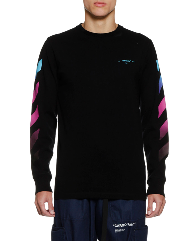 Off White Men S Diagonal Gradient Long Sleeve T Shirt