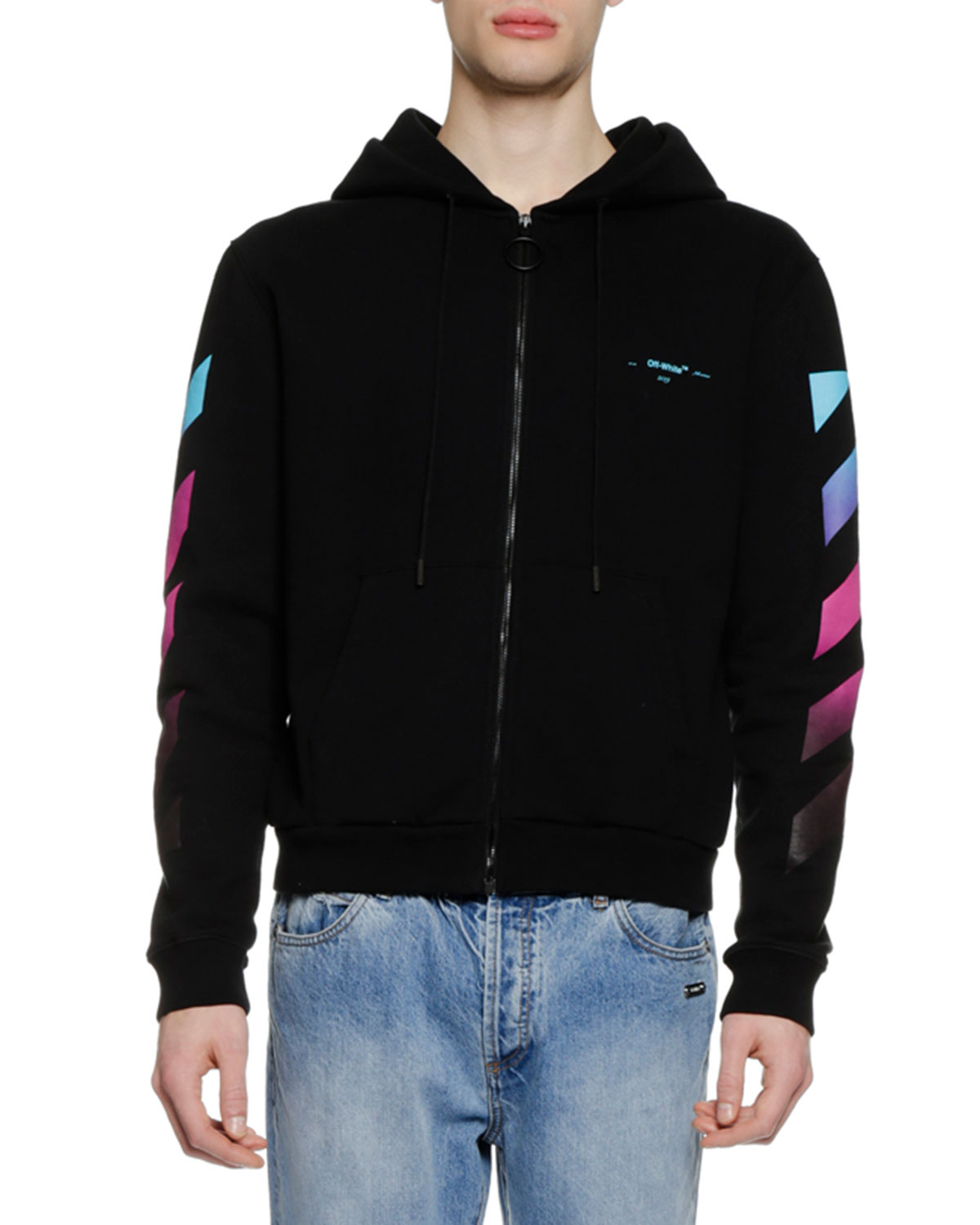 4f2c85171ef769 Off-White Men s Diagonal Gradient Zip-Front Hoodie Sweatshirt ...