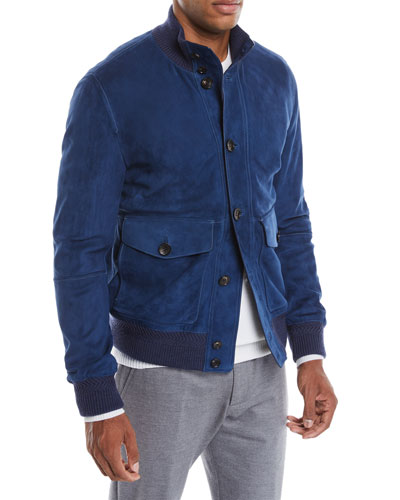 Men's Button-Front Suede Bomber Jacket