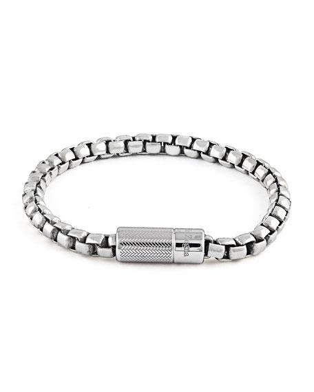 Ermenegildo Zegna Men's Silver Snake-Chain Bracelet. 19.5mm
