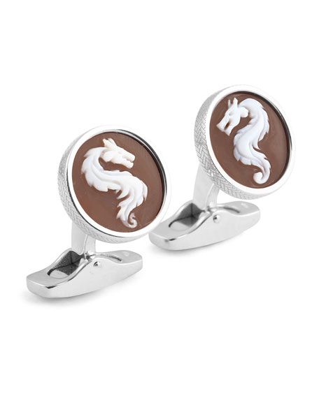 Ermenegildo Zegna Cameo Dragon Cuff Links w/ Seashell