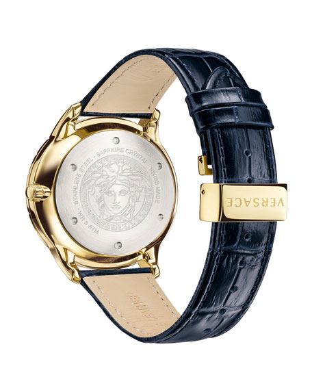 Versace Men's Univers 43mm Watch w/ Leather Strap, Blue/Champagne