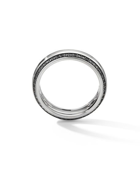 David Yurman Men's Beveled 18k White Gold Ring w/ Black Diamonds, Larger Sizes