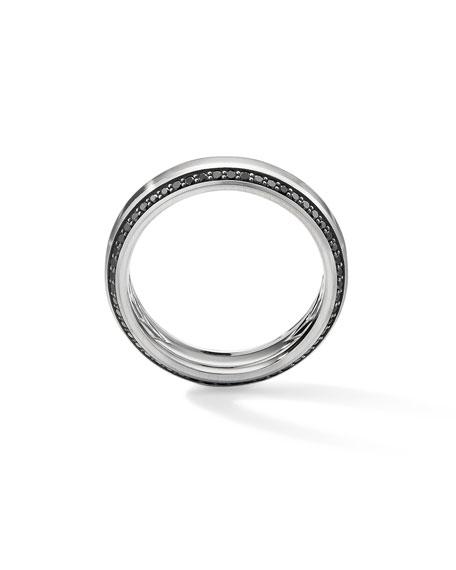 David Yurman Men's Beveled 18k White Gold Ring w/ Black Diamonds