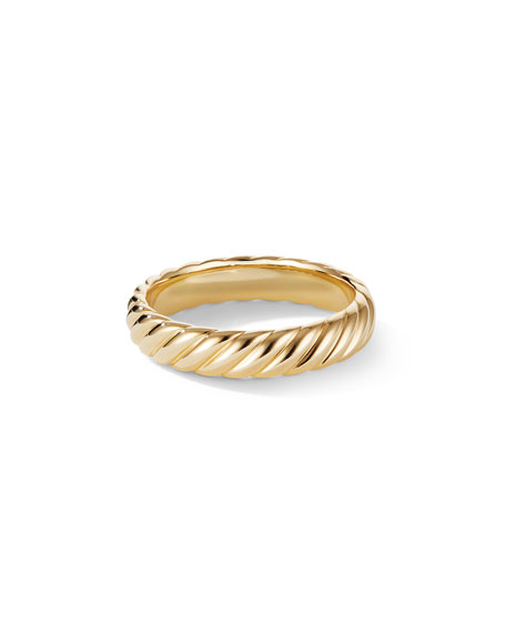David Yurman Men's 18k Gold Cable Band Ring, 5mm
