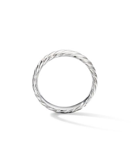 David Yurman Men's 18k White Gold Cable Band Ring, 5mm