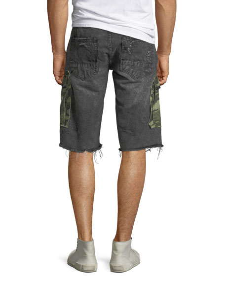 PRPS Men's Destroyed Denim Camo-Pocket Cargo Shorts