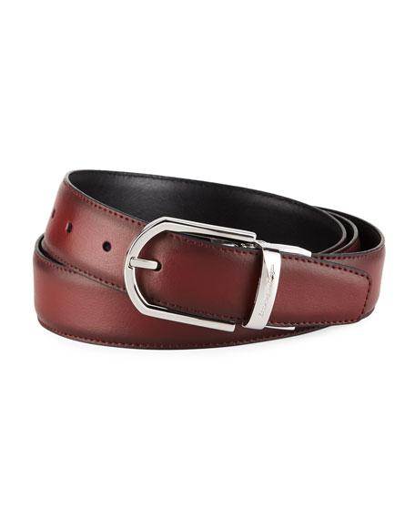 Ermenegildo Zegna Men's Reversible Burnished Leather Belt, Black/Red