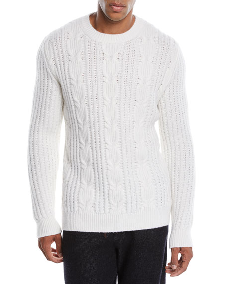Ermenegildo Zegna Men's Cable-Knit Cashmere Pullover Sweater